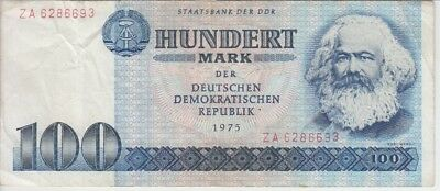 East Germany DDR Banknote P31aR-6693 100 Mark 1975 Prefix ZA Replacement, F-VF