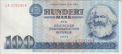East Germany DDR Banknote P31aR-2454 100 Mark 1975 Prefix ZA Replacement, VF
