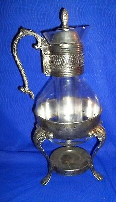 Antique Victorian hot Server Carafe Pilgrim Silver plate Warmer Burner Tea Pot