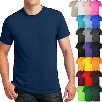 Mens Basic T Shirts Solid CREW NECK Soft Cotton Tee Plain Casual Lounge