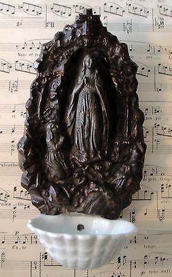 Antique French Lourdes holy water font c1880-1900
