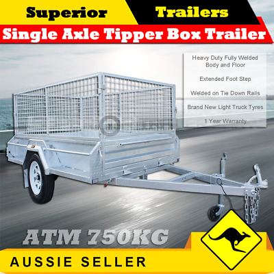 SUPERIOR 7x4 Single Axle Tipper Box Trailer With 600mm Cage - ATM 750KG