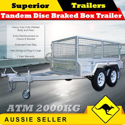 SUPERIOR 8x5 Heavy Duty Tandem Box Trailer 900mm Cage Disc Braked ATM 2000KG