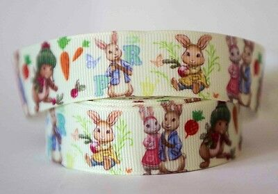 1M X 22 mm Grosgrain Ribbon Craft DIY Decoration Hair Bows - Peter Rabbit