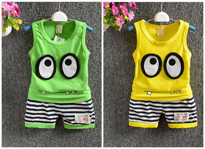 baby boys clothes cotton summer Top tee+short pants kids boys outfits monster