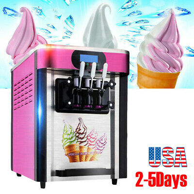 110V/220V 3 Flavor Commercial Frozen Soft Ice Cream Yogurt Cone Machine 20L/H CE