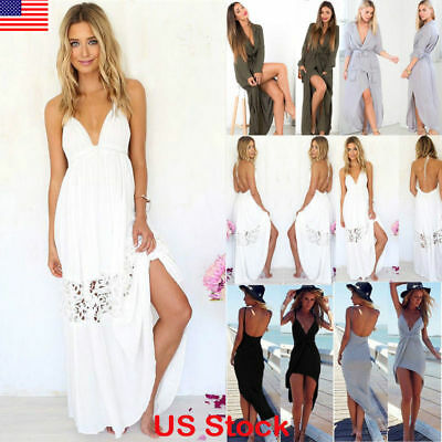 US Fashion Women Summer Beach Boho Backless Sexy Long Maxi Dress Sundress