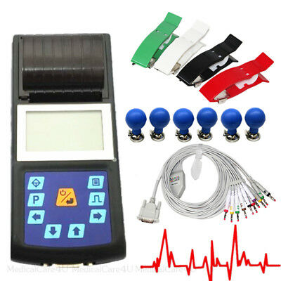 CE LCD Portable Digital 1-channel 12-lead Electrocardiograph ECG Machine EKG