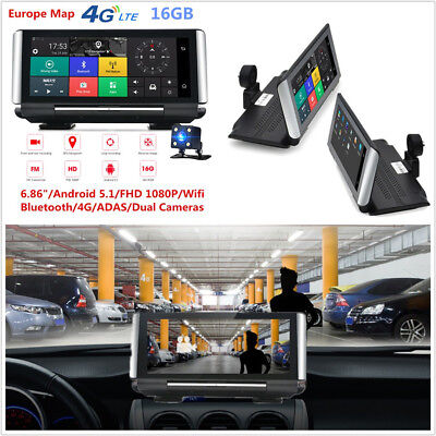 """Foldable 6.86"""" Full HD 1080P Autos DVR GPS Navigation Bluetooth Wifi Android 5.0"""