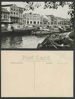 Singapore Old Real Photo Postcard BOAT QUAY Sampans Boats Guthrie & Co. Ltd Bldg