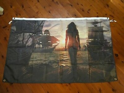 Pirate ship maiden  - Man Cave poster Jolly Roger  Garage Shed Bar Flag banner