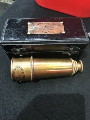 Brass Telescope In Wooden Box Victorian Marine Spyglass Antique Finish Nautical