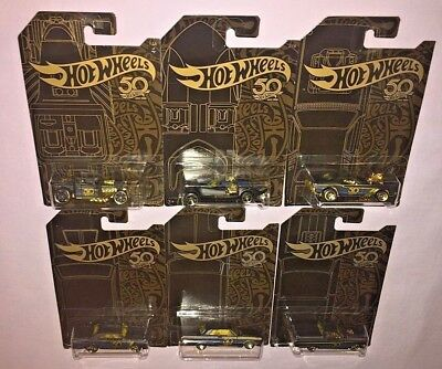 2018 Hot Wheels 50th ANNIVERSARY COMPLETE SET OF 6 **NEW**