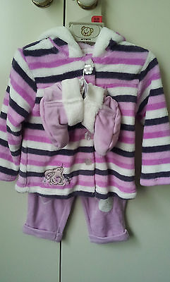 New Baby Girl Winter Jacket pants booties Size 6-12mth&12-18mths avail FREE GIFT
