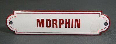19c.Antique Apothecary Drug Store Cabinet Anesthesia Drawer Enamel Sign Morphine
