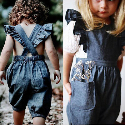 75b489c22f US Toddler Baby Kids Girls Ruffle Denim Romper Bodysuit Jumpsuit Outfits  Clothes