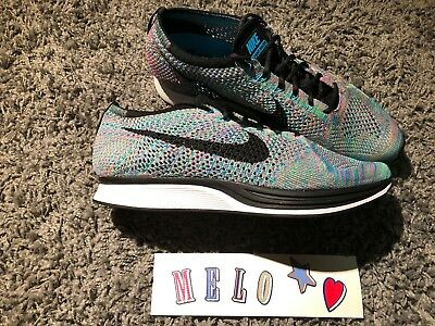 Nike Flyknit Racer Multi Color Size 8 Green Strike Black Blue 526628 304  size 10
