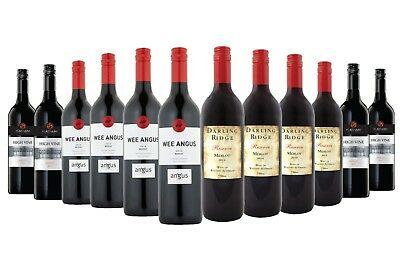 $79 Delivered Red Wine Merlot Mixed 12x750ml Free Shipping RRP $199