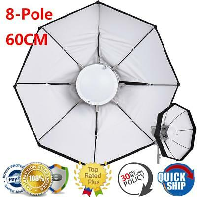 60cm 8-Pole Octagon Foldable Beauty Dish Softbox with Bowens for Flash Light
