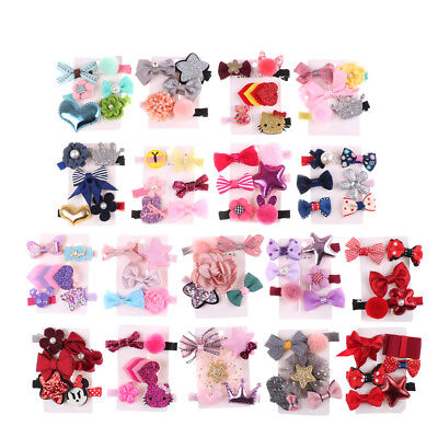 1 set Hairpin Baby Girl Hair Clip Bow Flower Mini Barrettes Star Kids Infant R