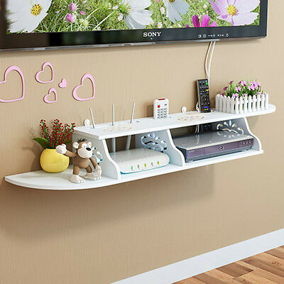 Modern 2 Tier Carved Wall Shelves Durable Shelving Unit DVD Storage Floating UK