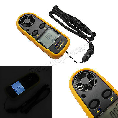 Handheld portable Air Wind Speed Meter Gauge Digital Anemometer Thermometer