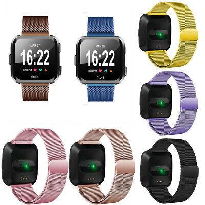 Magnetic Milanese Stainless Steel Loop Watch Wrist Band Strap For Fitbit Versa