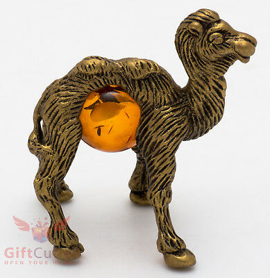 Solid Brass Amber Figurine of baby Camel cub IronWork