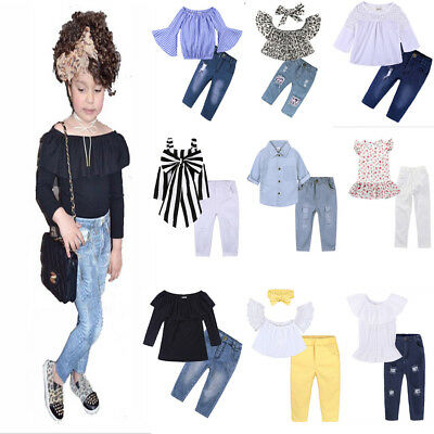 NAewborn Baby Girls Outfit Sets Tops + Long Jeans 2Pcs 1-7 Years Old Party Suits