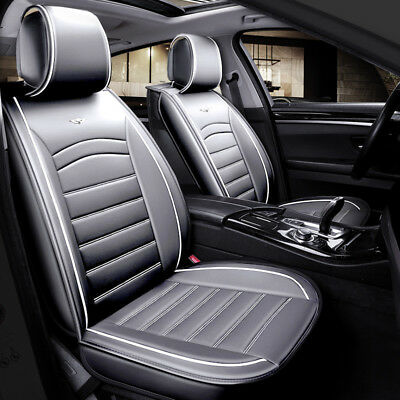 Deluxe Quality Grey PU Leather 1+1 Front Seat Covers Padded For