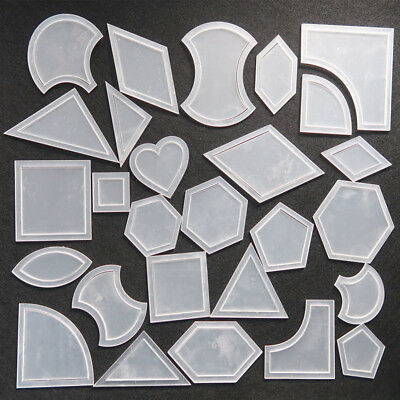 54 Pcs Reusable Mixed Quilt Template 2mm Plastic DIY Tool for Patchwork Quilter