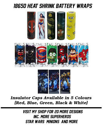Heat Shrink 18650 Battery Wraps. 15 Styles. Insulator Caps Available - 5 Colours