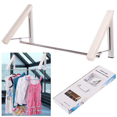 Folding Coat Hanger Hangers Wall Mounted Clothes Hanging Rail Rack Space Saving