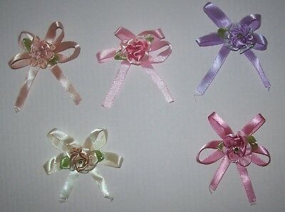 Pack of 3 Rhinestone Posy Flower Satin Bows 60mm Allsortscrafting UK SELLER