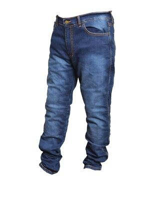 XT Mens Motorcycle Jeans Biker Slim Fit Blue Denim Trousers Protective Lining