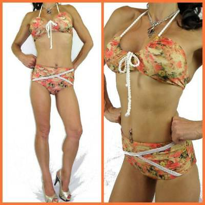 VINTAGE 60s ROCKABILLY SWIMSUIT 10 FLORAL high waist rope tie BANDEAU BIKINI