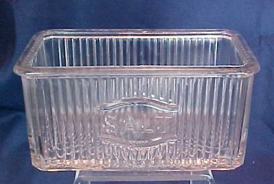 Vintage Large Glass Ribbed Salt Container box Hoosier Style