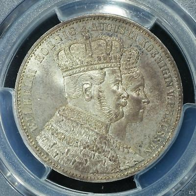 Prussia PCGS 1861 A MS 65  Thaler Taler Silver Unc Gem Coin Germany Coronation
