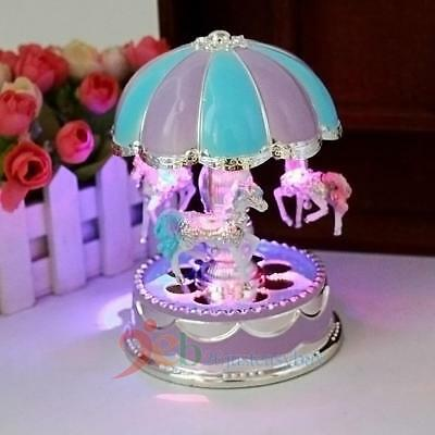 Baby Kids Girl Boy LED Horse Carousel Music Box Toys Musical Birthday Xmas Gifts