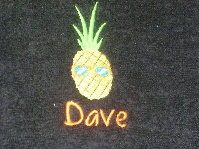 New Personalised Embroidered cool pineapple beach Bath Towel with Any One Name