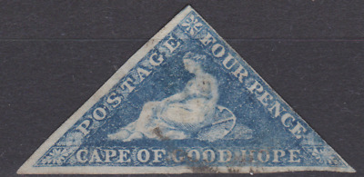 Cape of Good Hope 1860's Triangle Used 4d Blue SG ??   3 MARGINS JUST ?