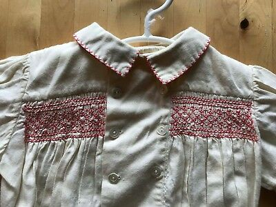Vintage Retro Baby Toddler romper with smocking