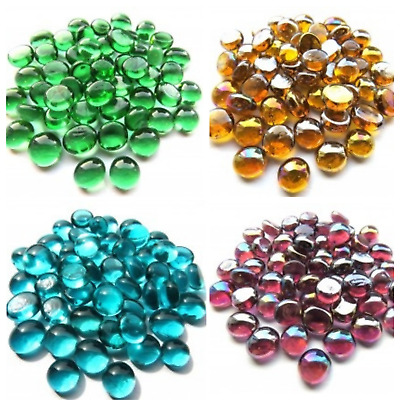 100 x Super Mini Glass Pebbles - Choice of Colours (approx. 12mm, 4mm thick)