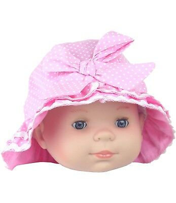 BabyPrem Baby Girls Sun Hat Summer Cloche Style Pink Spotty Hats Caps 6 - 18m