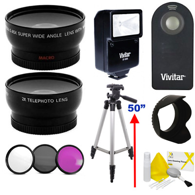 Fisheye Lens + Telephoto Lens +Filters +Flash For Canon Eos Rebel T1 T2 T3 Xs Xt