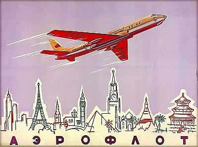 Soviet Airlines Russia USSR Vintage Airline Travel Advertisement Poster Print
