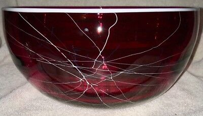 Phil Austin Snake Oil Glass Works Hand Blown Cranberry Red Glass Bowl Signed