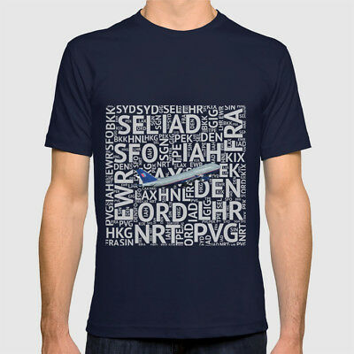 United Airlines Boeing 747 with Airport Codes - T-Shirt (Mens or Womens)