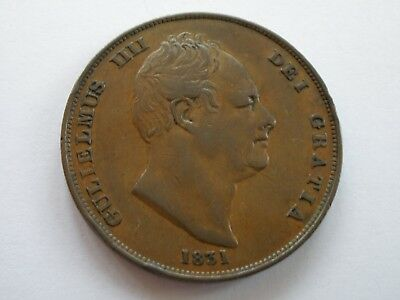 1831 WILLIAM IV PENNY - no ww - GVF - UK POST FREE
