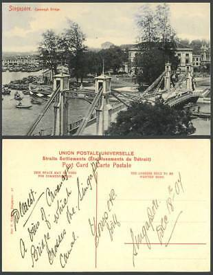 Singapore 1904 Old Postcard Cavenagh Bridge Sampans Boats Harbour Quay & Streets